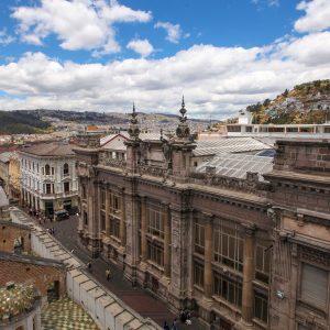 A view of the Calle de las 7 cruzes in the Historic Center of Quito