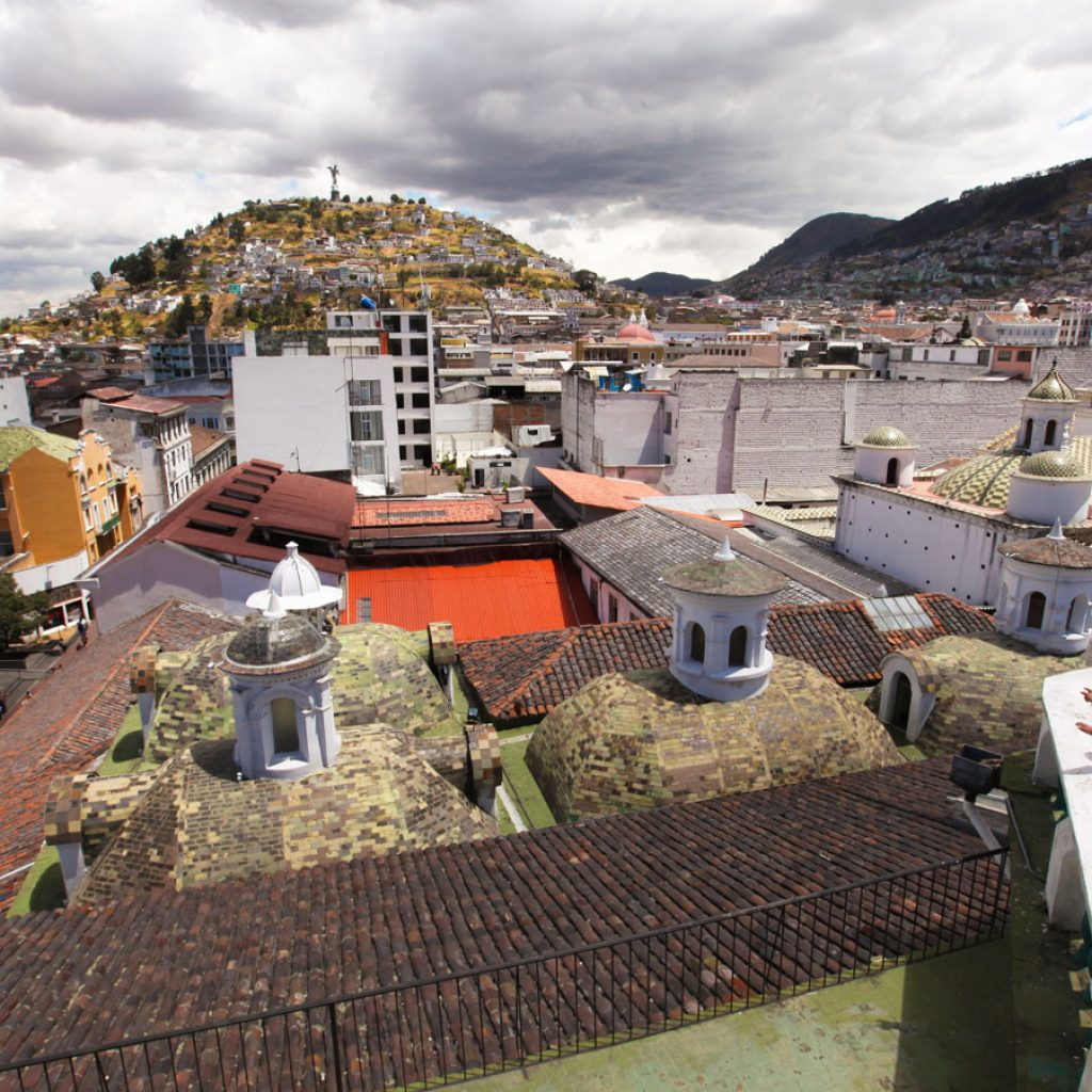 An arial view of the Historic Center of Quito including the Panecillo