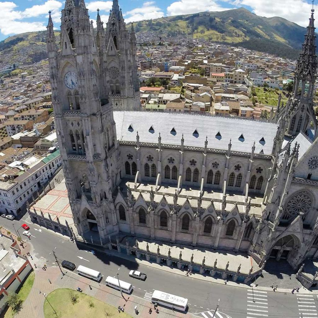 An arial view of the Basilica del Voto Nacional of Quito