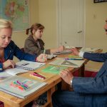 Vida Verde's academic director Fernando teaches a group Spanish Class